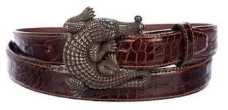 Kieselstein-Cord Glazed Alligator Sterling Belt