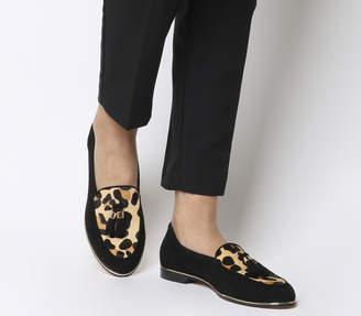 f0d8de11e91 Office Fallen Tassel Loafers Black Suede Leopard Effect