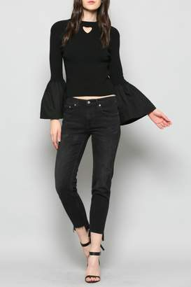 Fate Keyhole Bell Sleeve Top