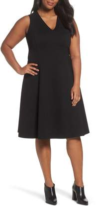 Sejour V-Neck Ponte Fit & Flare Dress