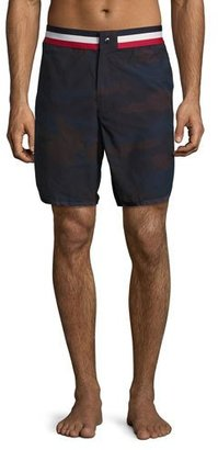 Moncler Camouflage Tricolor-Band Swim Trunks, Navy $270 thestylecure.com