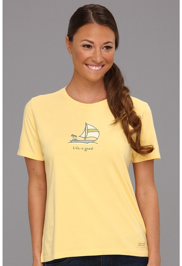Life is Good Jackie Spinnaker Crusher Tee (Sunny Yellow) - Apparel