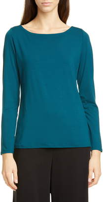 Eileen Fisher Bateau Neck Slim Tencel® Lyocell Top