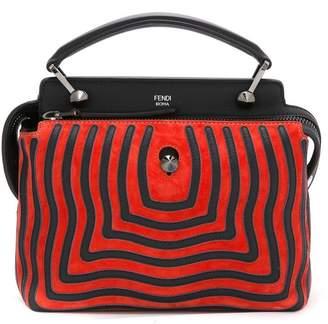 Fendi Black Red Dotcom Click Leather Shoulder Bag