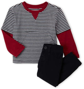 Hudson Infant Boys) Two-Piece Striped 2fer Tee & Pants Set