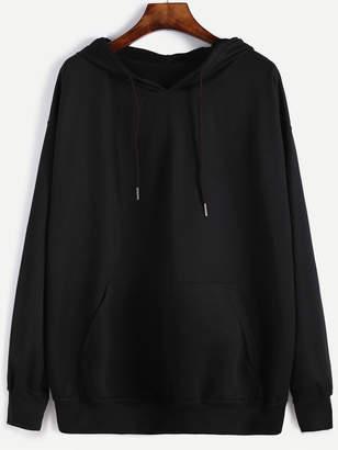 Shein Plus Drawstring Detail Pocket Front Hooded Sweatshirt
