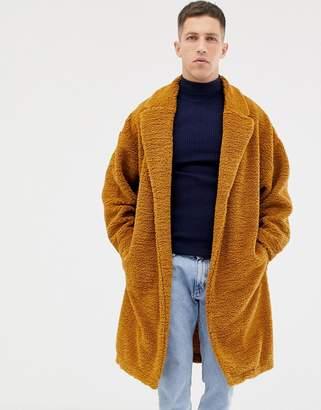 Asos Design DESIGN extreme oversized duster jacket in brown borg