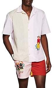 HECHO Men's Art-Print Cotton Poplin Shirt - Pink