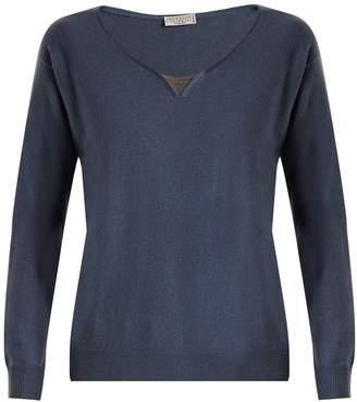 Brunello Cucinelli Embellished-neck cashmere sweater