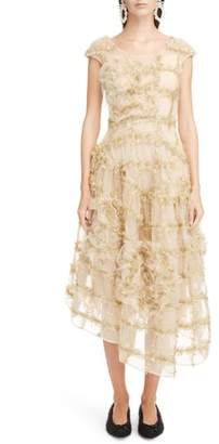 Simone Rocha Ruched Flower Tinsel Check Tulle Dress