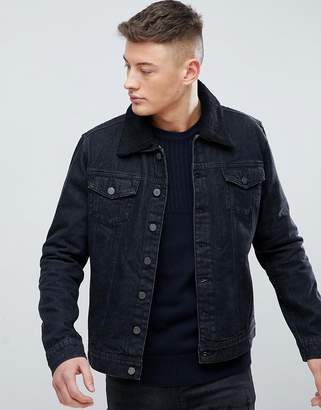 eb7cd4378 Hoxton Denim Black Denim Jacket with Fleece Collar