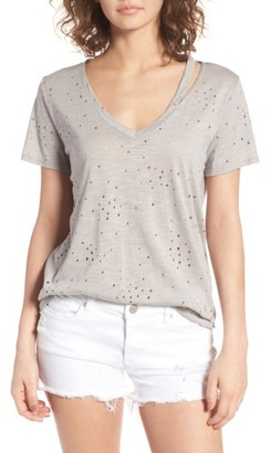 Women's Lush Ripped Split Neck Tee $35 thestylecure.com