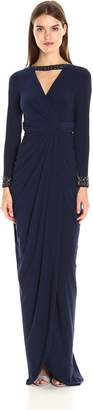 Adrianna Papell Women's Long Sleeve Rouched Jersey Gown with Beaded Cuffs