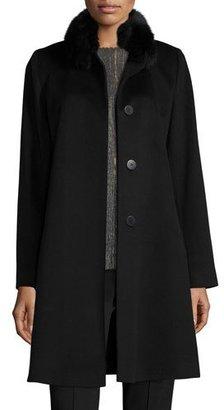 Fleurette Fox-Trim Wool Button-Front Coat, Black $1,335 thestylecure.com