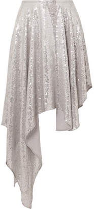 Ashish Asymmetric Sequined Georgette Midi Skirt - Silver
