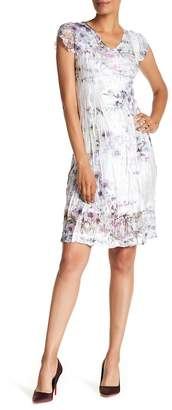 Komarov V-Neck Cap Sleeve Print Dress