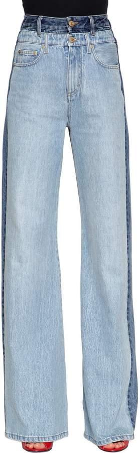 Zweifarbige Jeans Aus Denim