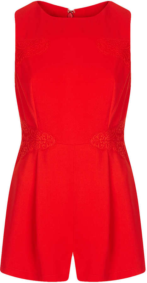 Topshop Lace Panel Playsuit