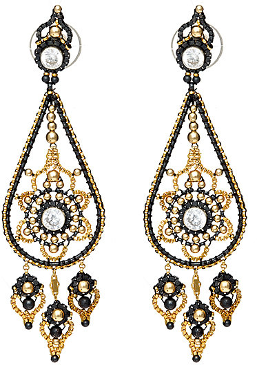 Miguel Ases Oxidized Silver Chandelier Earrings