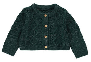 George Bottle Green Shimmering Chunky Knit Cardigan