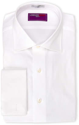 Lorenzo Uomo White Oxford French Cuff Trim Fit Dress Shirt