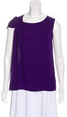 Halston Silk Short Sleeve Top