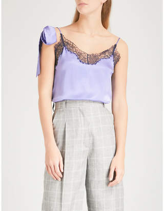 Sandro Lace-detail silk top