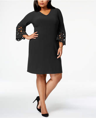 Alfani Plus Size Lasercut-Sleeve A-Line Dress, Created for Macy's