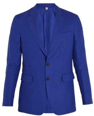 Burberry Soho Single Breasted Linen Blazer - Mens - Blue