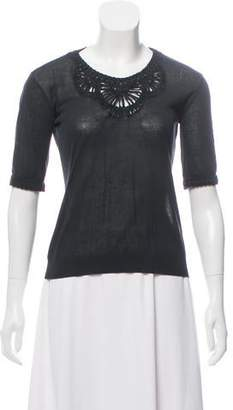 Christian Dior Lace & Sheer Short Sleeve Top