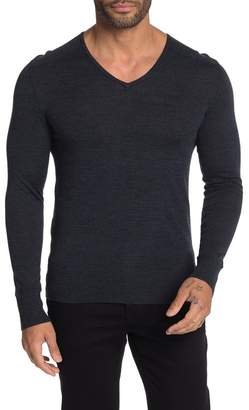 John Varvatos Slim Fit Long Sleeve Merino Wool V-Neck Sweater