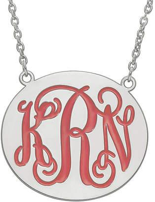 FINE JEWELRY Personalized 32mm Sterling Silver Enamel Monogram Necklace