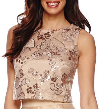 Chetta B BE BY Be by Sleeveless Embroidered Sequin Crop Top