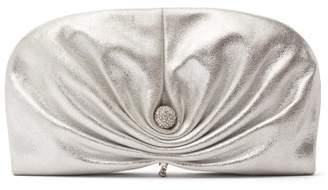 Jimmy Choo Vivien Metallic Suede Clutch Bag - Womens - Silver