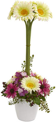 Gerber Nearly Natural Daisy Artificial Arrangement in Ceramic Vase