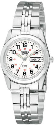 JCPenney Citizen Quartz Citizen Womens White Dial Stainless Steel Bracelet Watch EQ0510-58A
