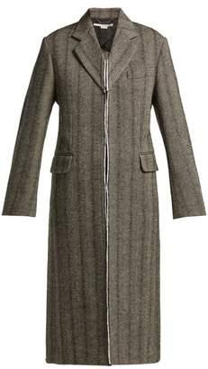 Stella McCartney Herringbone Wool Blend Coat - Womens - Grey