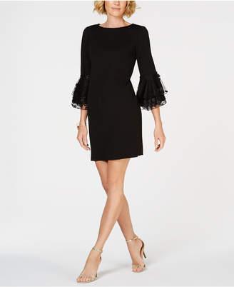 MSK Floral-Applique Bell-Sleeve Dress