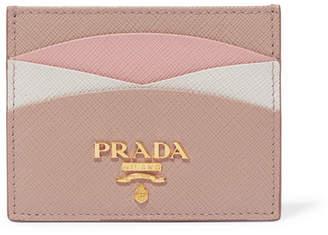 Prada Color-block Textured-leather Cardholder - Antique rose