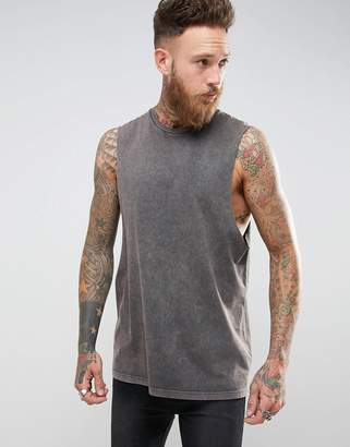 Asos DESIGN Longline Sleeveless T-Shirt With Extreme Dropped Armhole In Acid Wash Gray