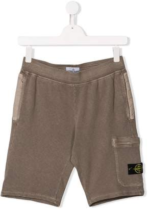 Stone Island Junior TEEN logo cargo shorts