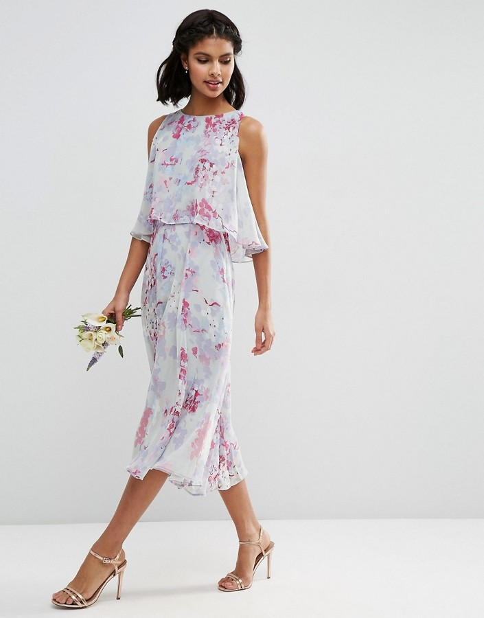 AsosASOS WEDDING Dress With Soft Double Layer in Print