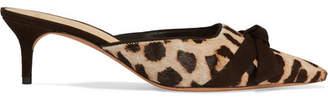Alexandre Birman Daisy Bow-embellished Leopard-print Calf Hair Mules