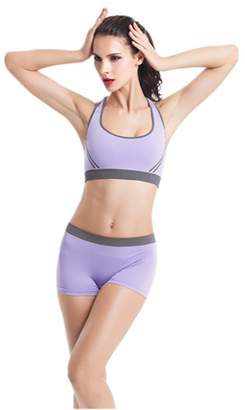 YeeHoo Women Yoga Fitness Seamless Bra and Short Pants Leggings Set Sports Wear