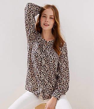 LOFT Petite Leopard Print Blouse