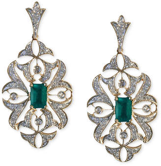 Effy Brasilica by Emerald (1 ct. t.w.) and Diamond (1/2 ct. t.w.) Drop Earrings in 14k Gold