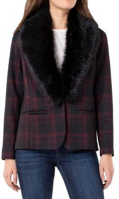 Liverpool Plaid Detachable Faux Fur Collar Blazer