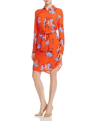 Foxcroft Eve Abstract Floral Belted Shirt Dress $108 thestylecure.com