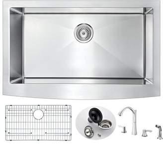 """ANZZI Elysian 36"""" L x 21"""" W Farmhouse Kitchen Sink with Faucet ANZZI"""