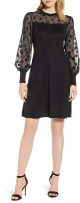 CeCe Fil Coupe Mixed Media Dress